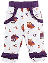 Snuggles Legging With Frill Owl Print - White (0-3M)