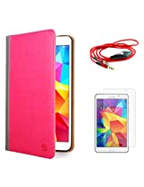 VanGoddy Mary Portfolio Multi Purpose Book Style Slim Flip Cover Case for Samsung Galaxy Tab4 T330/T331 8.0 (Pink) + AUX Cable + Matte Screen