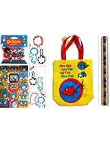 Dr. Seuss Tote Bag Bracelets, Ruler and Sticker Set - One Fish Two Fish Red Fish Blue Fish Tote Bag, Plus 20 Piece Assorted Bracelet Bandz, Ruler and Sticker Sheet
