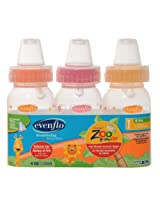 Evenflo Zoo Friends 3 Count Anatomic Nipple Bottle, 8 Ounce