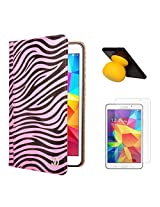VG Zebra Print Mary Portfolio Multi Purpose Book Style Slim Flip Cover Case for Samsung Galaxy Tab4 T330/T331 8.0 (Pink) + Bluetooth Suction Stand Speakers + Matte Screen