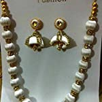 White necklace with earrings