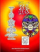 Målarbok Fira År Av Apa Lära Sig Kinesisk Skrift: Kultur 20 Original Handgjort Ritningar Fantastisk Apor Lord Chango Lord Hanuman Lätt Och Medel Nivå För För Alla Åldrar Genom