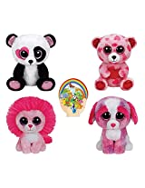 Ty Beanie Boos Valentines 2015 Mandy The Panda, Sweetkins The Bear, Fluffy The Lion, Sherbert The Dog + Bonus Animal Stickers & Free Disneys Frozen Calendar!!!