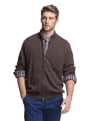 Oxxford Men's Zip-Up Cardigan (Brown)