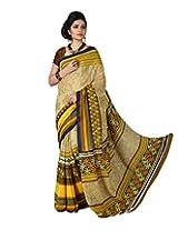 Rajlaxmi Women'S Chiffon Lace Saree (Bysr1017Adav2 ,Yellow)