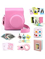 CAIUL 9 in 1 Fujifilm Instax Mini 8 Accessories Bundle(Pink 2nd Generation Mini 8 Case/Mini Album/selfie Lens/4 colors Close-Up Lens/3 inch Frame/Wall Hang Frame/Film & Camera Sticker/Film Pouch)