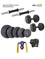 14 KG BODY MAXX ADJUSTABLE RUBBER DUMBELLS + 2PCS DUMBELLS RODS + GLOVES + ROPE