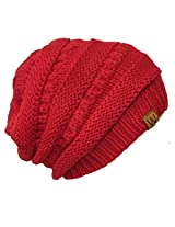 Wrapables Knitted Slouchy Beanie Beret, Red, Red