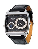 Exotica Black Dial Analogue Watch for Men (EX-44 DUAL-B)