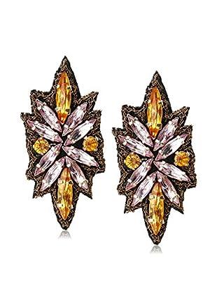 Suzanna Dai Blush & Champagne Lotus Button Earrings