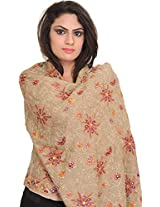 Exotic India Stole from Amritsar with Ari Embroidery All-Over and Sequins - Color NomadColor Free Size
