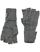 Muk Luks Men's Cable Knit Fingerless Gloves, Charcoal, One Size