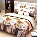 FabFurnish Sweet Dreams Contemporary 3D Double Bed Sheet with Two Pillow Covers Grey And Brown