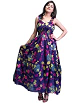 Skipper-Blue Barbie Dress with Printed Flowers - Pure Cotton [Apparel]