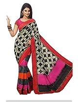 Multi Color Art Bhagalpur Silk Saree with Blouse 11326
