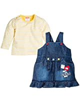 Infant Girls Dungaree With Tee Print - Multi Colour (2-3 Years)
