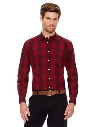 Dockers Camisa Laundered de Popelín de Cuadros (rojo / gris)