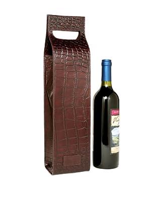 Trafalgar Crocodile-Embossed Wine Carrier (Dark Brown)