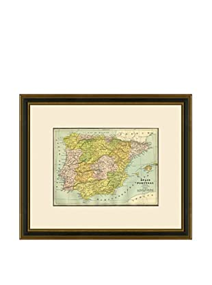 Antique Lithographic Map of Spain & Portugal, 1883-1903