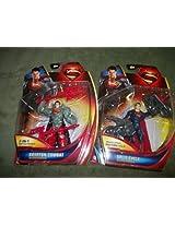 Set of 2 Superman Man of Steel Krypton Combat 2-in1 Battle Staff/ Superman Man of Steel Split Cycle Break-apart Motorcycle