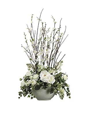 Allstate Floral Cherry Blossom, Rose & Ranunculus in Ceramic Vase, Cream
