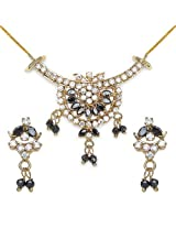12.30 Grams Black Cubic Zirconia & White Cubic Zirconia Gold Plated Brass Pendant Set