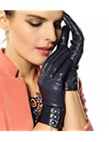 Bestselling Women's Nappa Leather Plush Lined Winter Gloves Leather Covered Buttons (L, Dark Navy (2014 New))