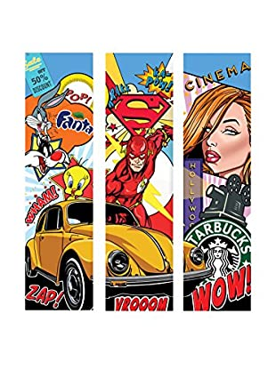 Contemporary Kitchen Set Panel Decorativo 3 Uds. Collage Pop Art - B Multicolore