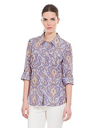 Cortefiel Camisa Algodón / Seda (Azul)