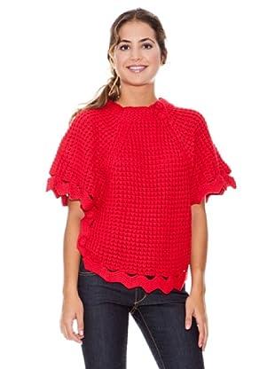 LAVAND Jersey Poncho Punto (Rojo)
