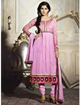 Aarna Designer Semi Stitched Pink Suit For Women