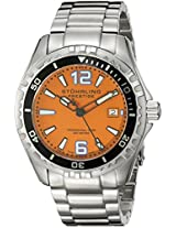 Stuhrling Original Men's 382.331117 Prestige Swiss Regatta Captain Quartz Diver Date Orange Dial Watch