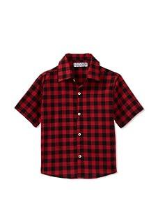 Velvet & Tweed Boy's Button Front Shirt (Red/Black Gingham)