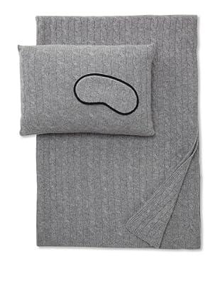 Sofia Cashmere Cable Knit Travel Set (Grey)