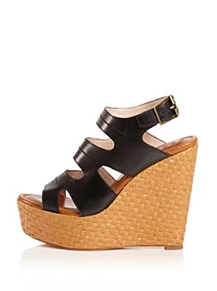 Modern Vintage Women's Lou Raffia Wedge (Black)