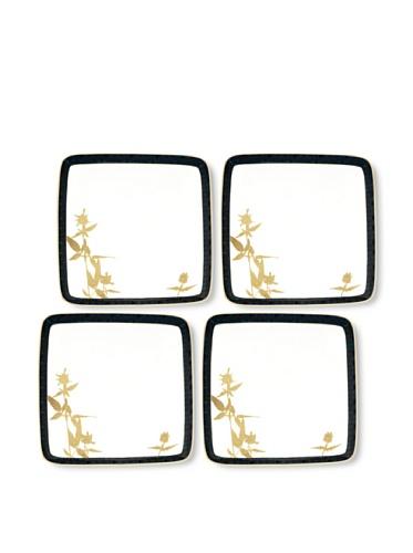 Noritake Set of 4 Everyday Elegance Verdena Small Square Plates (Gold)