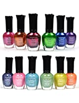 12 New Pcs Kleancolor Full Size 6 Metallic+ 6 Holo Set Nail Polish Lacquer + Free Earring