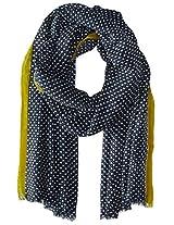 Saro Lifestyle Women's Dotted Design Shawl, Navy Blue, One Size