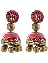 Avarna Enamel Jhumki Earrings for Women (Pink)