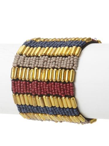 La Croix Rousse Beaded Bracelet, Gold/Dark Red