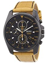 Seiko Seiko Chronograph Black Dial Black Pvd Tan Leather Mens Watch Sndd69 - Sndd69P1
