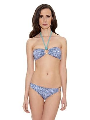 Cortefiel Bikini Estamp Bandeau Extraib (Azul)