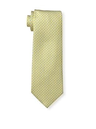 Battistoni Men's Diagonal Dash Tie, Yellow/Blue
