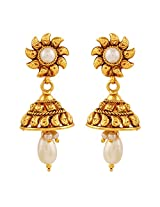 AccessHer Copper Antique Royal White Pearl Jhumki Earrings