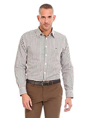 Pedro del Hierro Camisa Fantasía Rayas (Verde / Marrón / Blanco)