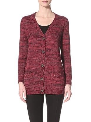525 America Women's Tweed Cardigan (Cranberry Cocktail)