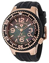 Swiss Legend Watches, Men's Neptune Black Mother Of Pearl Dial Rose Gold Tone Case Black Silicone, Model 21848P-RG-01-MOP