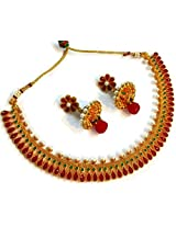 Divinique Jewelry Gorgeous Red green Copper Polki necklace set for Women