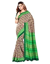 Sangam Saree Womens Green Bhagalpuri Print Saree